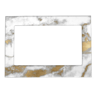 Golden and White Marble Magnetic Frame