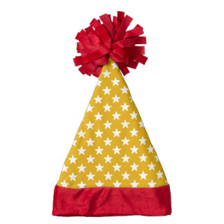 Golden And White Star Pattern Santa Hat