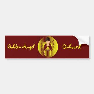 """Golden Angel Onboard"" Bumper Sticker-Customizable Bumper Stickers"