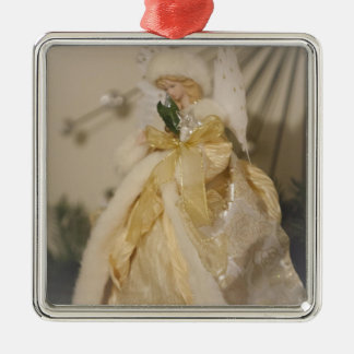 Golden Angel With Outstretched Wings Silver-Colored Square Decoration