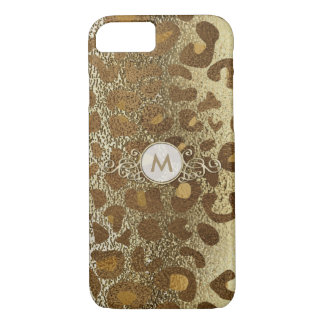 Golden Animal Print Circle Monogram Case for Her