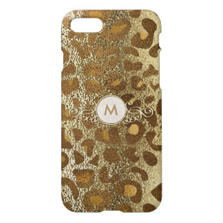 Golden Animal Print Monogram Circle Case for Her