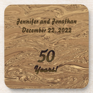 Golden Anniversary, 50 Years, Coaster Set of 6