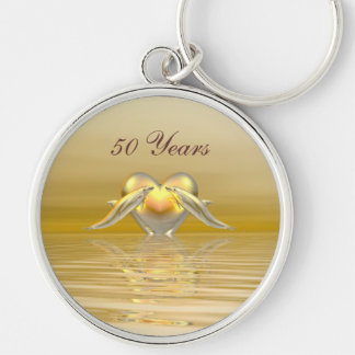 Golden Anniversary Dolphins and Heart Key Ring