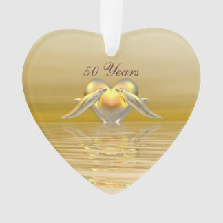Golden Anniversary Dolphins and Heart Ornament