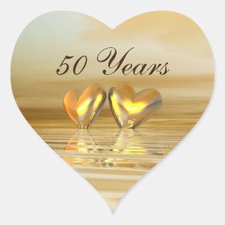 Golden Anniversary Hearts Heart Sticker