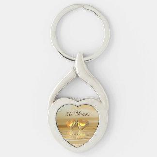 Golden Anniversary Hearts Key Ring