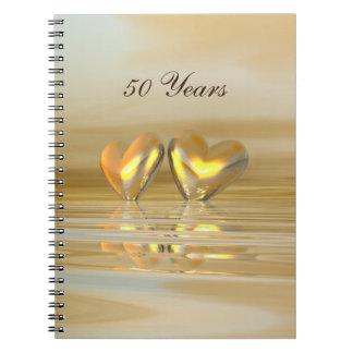 Golden Anniversary Hearts Notebook