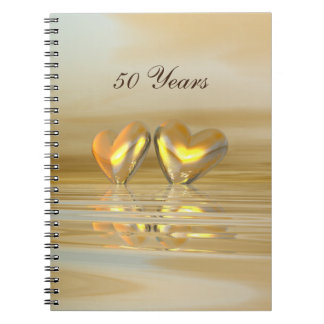 Golden Anniversary Hearts Spiral Notebook