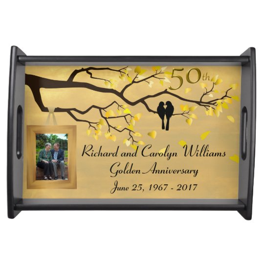 Golden Anniversary Love Birds Food Trays