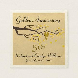 Golden Anniversary Love Birds Paper Serviettes
