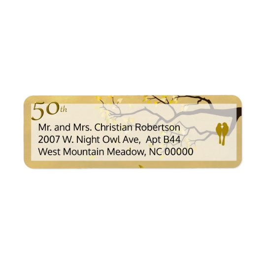 Golden Anniversary Lovebirds Return Address Label