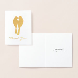Golden Anniversary Lovebirds Thank You Foil Card