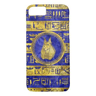 Golden Anubis  with hieroglyphs on blue iPhone 8/7 Case
