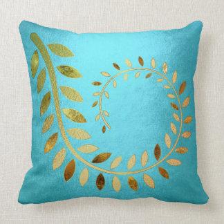 Golden Aquatic Autumn Fall Felice Leave Throw Pillow