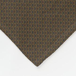 Golden Art Nouveau Peacock Drops Pattern Fleece Blanket