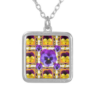 GOLDEN ART PURPLE & YELLOW SPRING PANSIES GARDEN SILVER PLATED NECKLACE