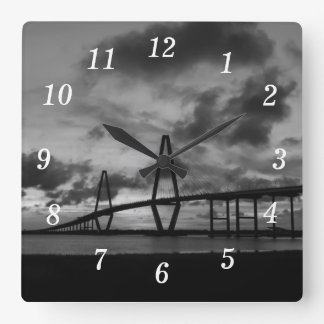 Golden Arthur Ravenel Pano Grayscale Square Wall Clock