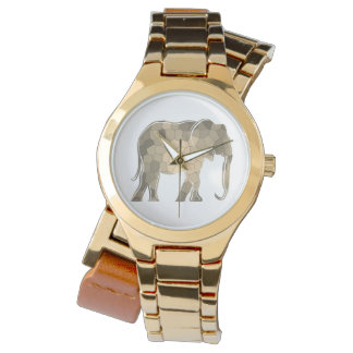 Golden Artistic Elephant Classy Elegant Mosaic Wrist Watches
