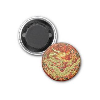 Golden asian dragon embroidered on dark red fridge magnet