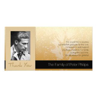 Golden Asphodel Frame Photo Sympathy Thank You 2 Personalised Photo Card