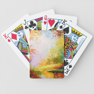 Golden autumn bicycle playing cards
