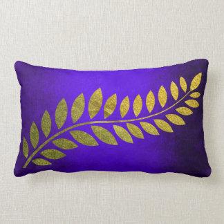 Golden Autumn Fall Felice Leave Cobalt Blue Lumbar Pillow