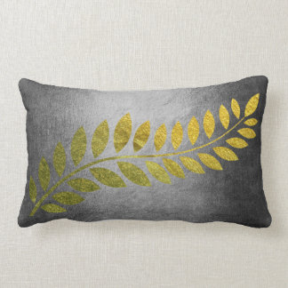 Golden Autumn Fall Felice Leave Gray Lumbar Pillow