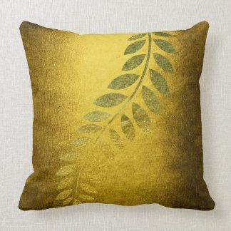 Golden Autumn Fall Felice Leave Mustard Throw Pillow
