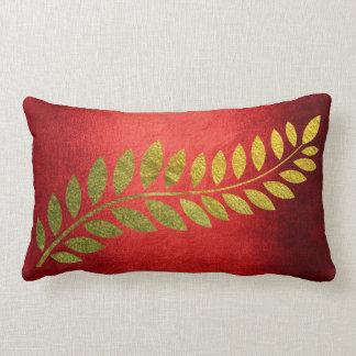 Golden Autumn Fall Felice Leave Red Lumbar Pillow