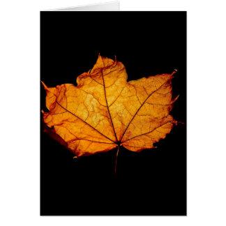Golden Autumn Leaf Greeting Card