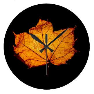 Golden Autumn Leaf Wall Clocks