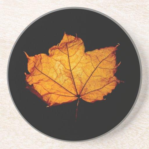 Golden Autumn Leaf Beverage Coasters
