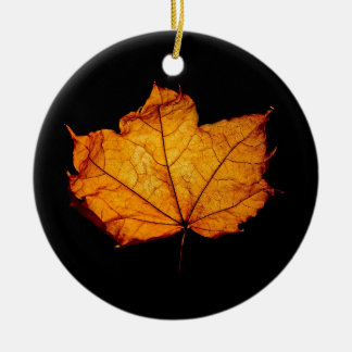 Golden Autumn Leaf Christmas Ornament