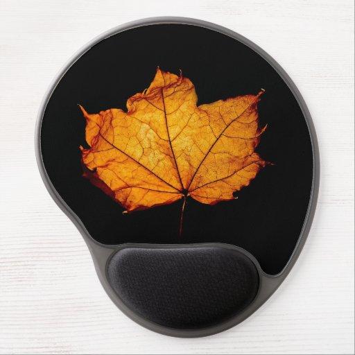 Golden Autumn Leaf Gel Mousepads