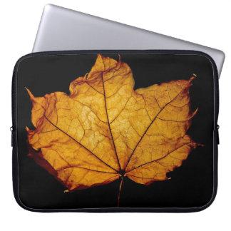 Golden Autumn Leaf Laptop Computer Sleeve