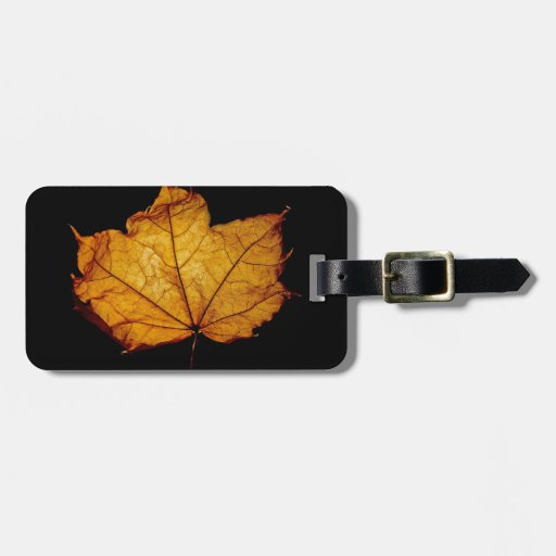 Golden Autumn Leaf Luggage Tag