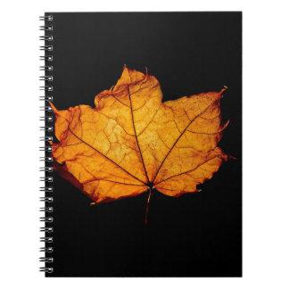 Golden Autumn Leaf Spiral Note Books