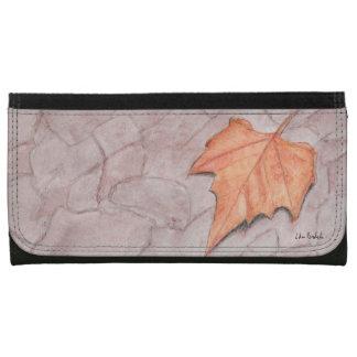 Golden Autumn Leaf on Pavement Wallet
