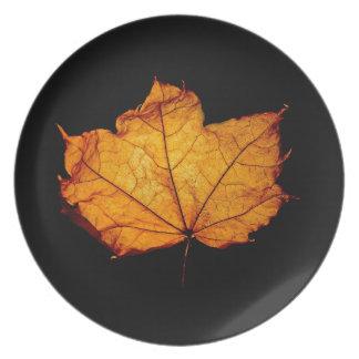 Golden Autumn Leaf Plate
