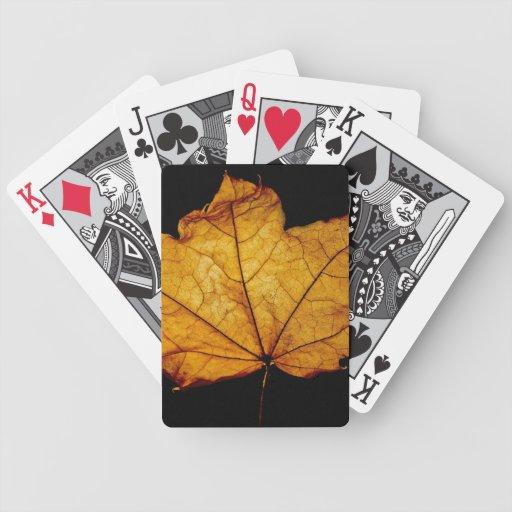 Golden Autumn Leaf Deck Of Cards