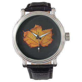 Golden Autumn Leaf Wristwatch