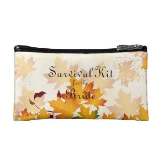 Golden Autumn Leaves Bridal Survival Kit Cosmetic Bags