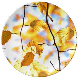 Golden Autumn Leaves Foliage Plate