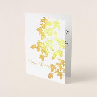 Golden Autumn Leaves Happy Birthday Foil Card