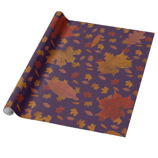 Golden Autumn Leaves on Blue Custom Color Wrapping Paper