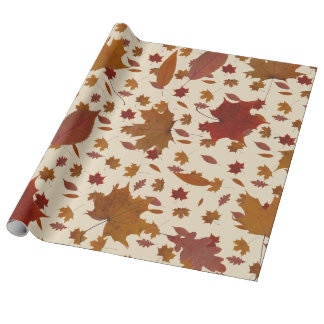 Golden Autumn Leaves on Cream Custom Color Wrapping Paper