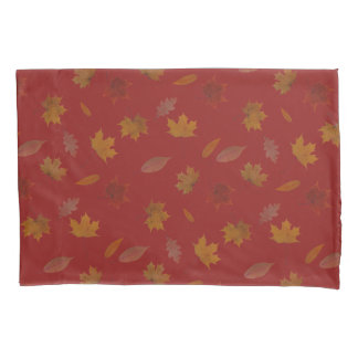 Golden Autumn Leaves on Red Custom Color Pillowcase