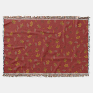 Golden Autumn Leaves on Red Custom Color Throw Blanket