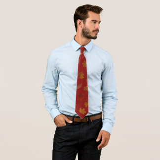 Golden Autumn Leaves on Red Custom Color Tie